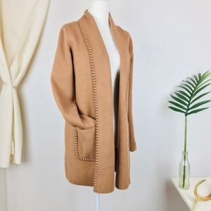 Magaschoni Camel Knit Trim Open Front Cardigan
